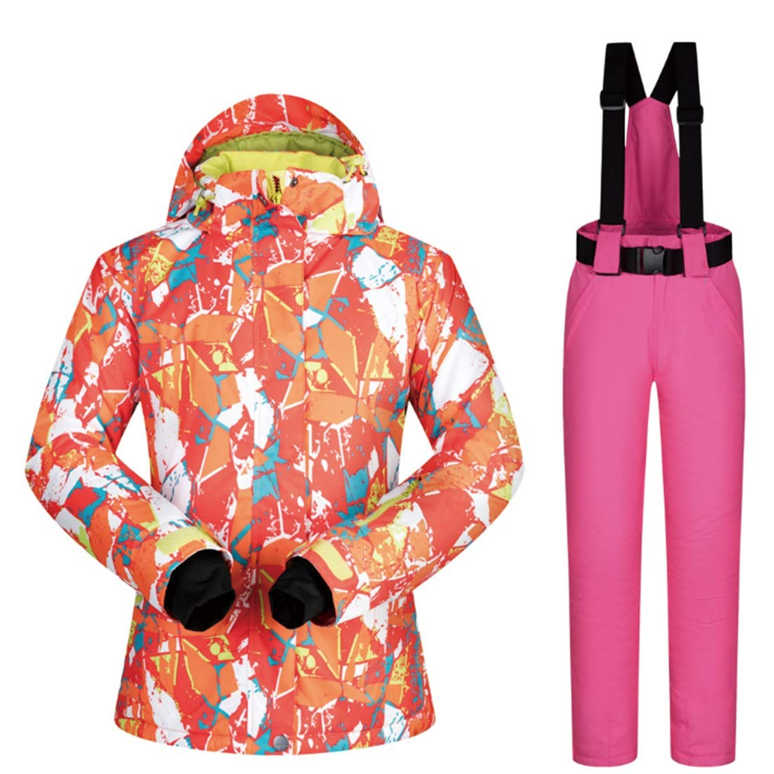 6 Sububblepper Women's Snowsuit Winter Ski Jacket and Pants Set Below Zero Coat (color   03, Size   XL)