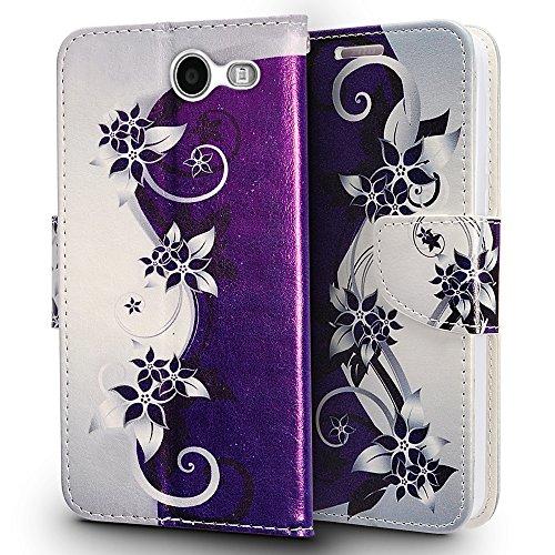 Samsung Galaxy J7 Perx case, J7 Sky Pro case, J7V J7 V case, Luckiefind Designer Leather Flip Wallet Credit Card Cover Case, Stylus Pen, Screen Protector Accessories (Wallet Purple Vine)