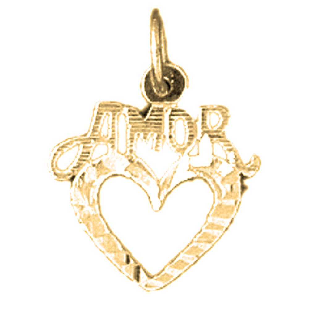 14K Yellow Gold-plated 925 Silver Amor Pendant with 16 Necklace Jewels Obsession Amor Necklace