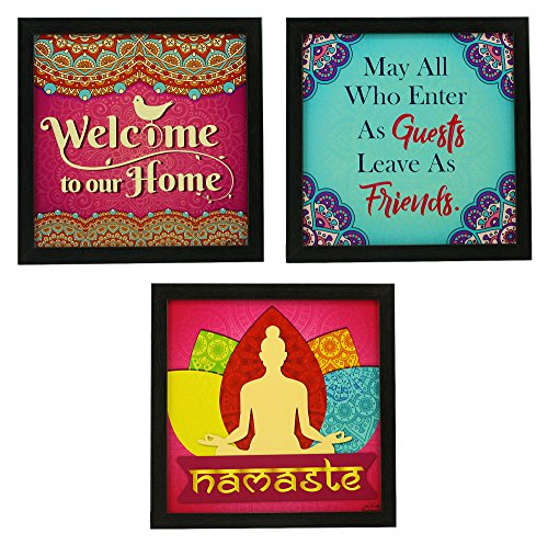 Wall Hanging Welcome Home Decor Multicolor Art Prints Indianara Framed