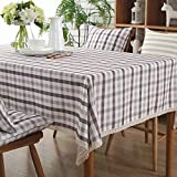 HOMEE Simple modern rectangular grid stripe cotton fabric waterproof table cloth Christmas decorations,E,180X180cm