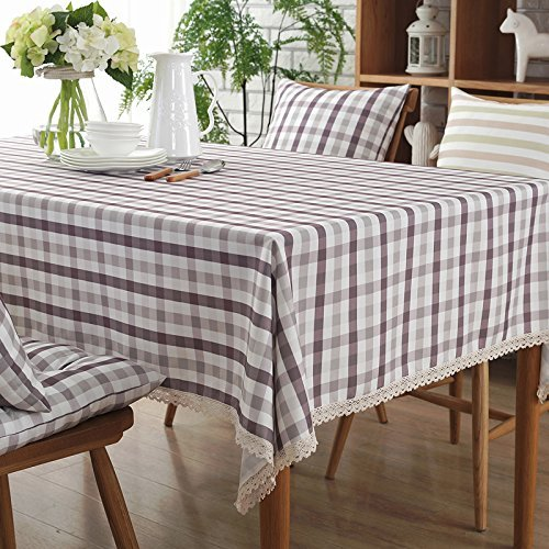 HOMEE Simple modern rectangular grid stripe cotton fabric waterproof table cloth Christmas decorations,E,180X180cm by HOMEE