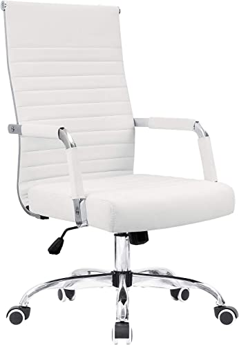 KaiMeng Ribbed Office Desk Mid Back Computer Chair Height Adjustable Conference Executive Task Swivel PU Leather White