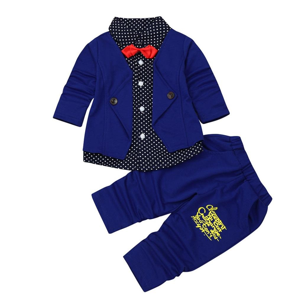 349b735959e6 Amazon.com  DIGOOD for 0-4 Years Old Boy Kids Baby Boy Little Gentry Clothes  Formal Party Christening Wedding Tuxedo Bow Suit  Clothing