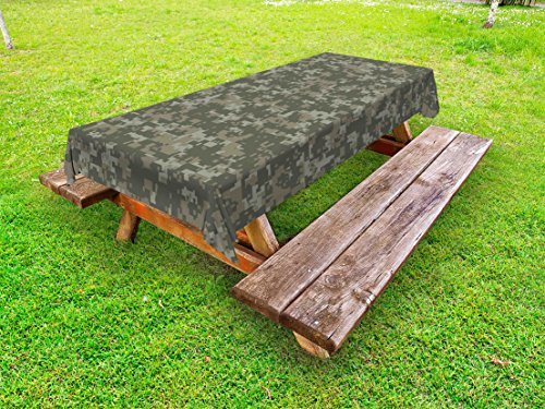 Ambesonne Camouflage Outdoor Tablecloth, Monochrome Attire Pattern Concealing Hiding in The Woods Themed Print, Decorative Washable Picnic Table Cloth, 58 X 84 inches, Army Green Sage Green ()