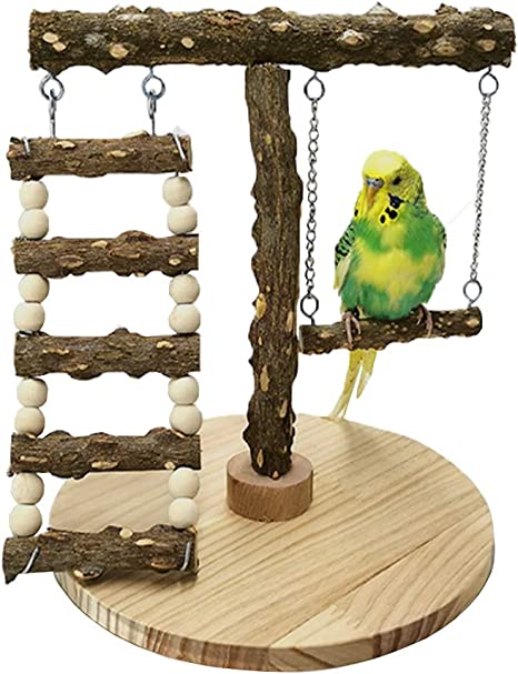 Bird Perch Natural Wood Stand Parrot Training Stand U Shape Bird Swing Grinding Claws Stick for Macaw Cockatoo African Greys Budgies Parakeet Cockatiel Conure Lovebirds