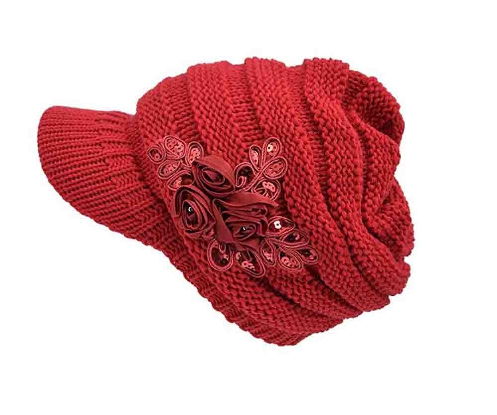 ArRord Women Winter Warm Flower Hat