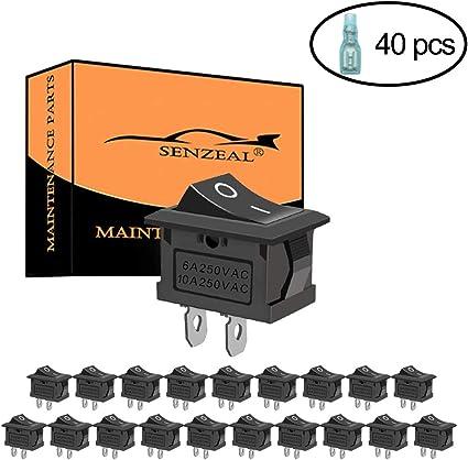 SENZEAL - 20 interruptores basculantes AC 6 A/250 V 10 A/125 V DC ...