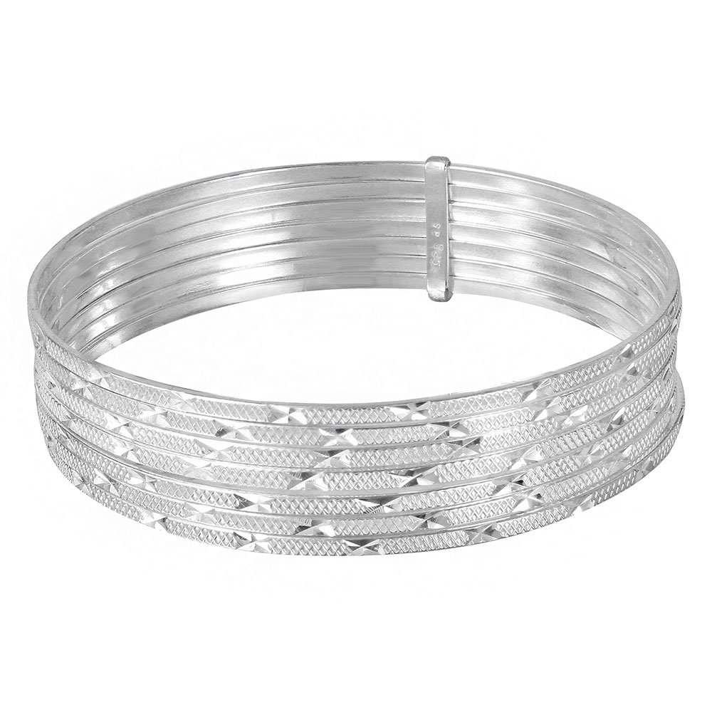 CloseoutWarehouse Sterling Silver High Polished Diamond Cut Semanario Bangle Bracelet