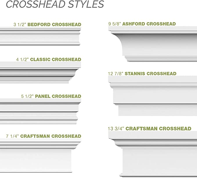 Ekena Millwork CRH06X45PN-1 45 Bottom Width x 48 1//8 Top Width x 6 1//8H x 1//2P Panel Crosshead