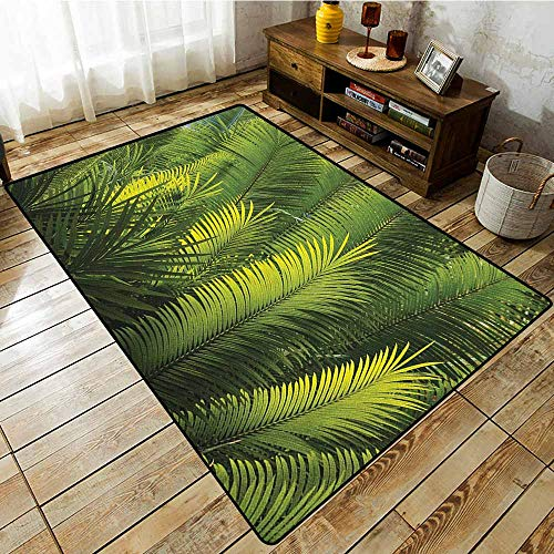 Outdoor Patio Rug,Palm Tree,Plam Tree Foliage Tropical Plants Leaves Forest Theme Exotic Natural Beauty Image,Super Absorbs Mud,5'10