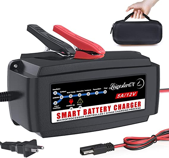 Amazon Com Lst 12v 5a Automatic Battery Charger Maintainer Smart Deep Cycle Battery Trickle Charger For Automotive Car Boat Motorcycle Lawn Mower Marine Rv Sla Atv Agm Gel Cell Wet Flooded Lead Acid