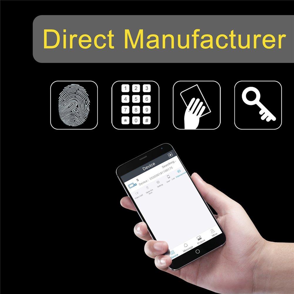 Cerradura de puerta inalámbrica WiFi inteligente con vídeo Peephole Home Kit APP Desbloqueo de huellas dactilares PIN código Swiping Card Física Llave ...
