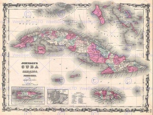 Cuba Map - 1862 JOHNSON MAP CUBA AND PORTO RICO VINTAGE POSTER ART PRINT 12x16 inch 30x40cm 2933PY