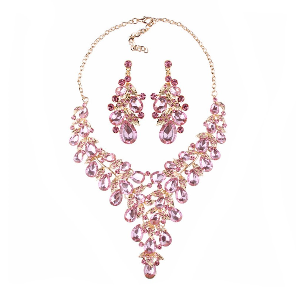 omylady Women Crystal Jewelry Set Teardrop Rhinestone Statement Necklace and Earrings Sets for Wedding Party (Pink)