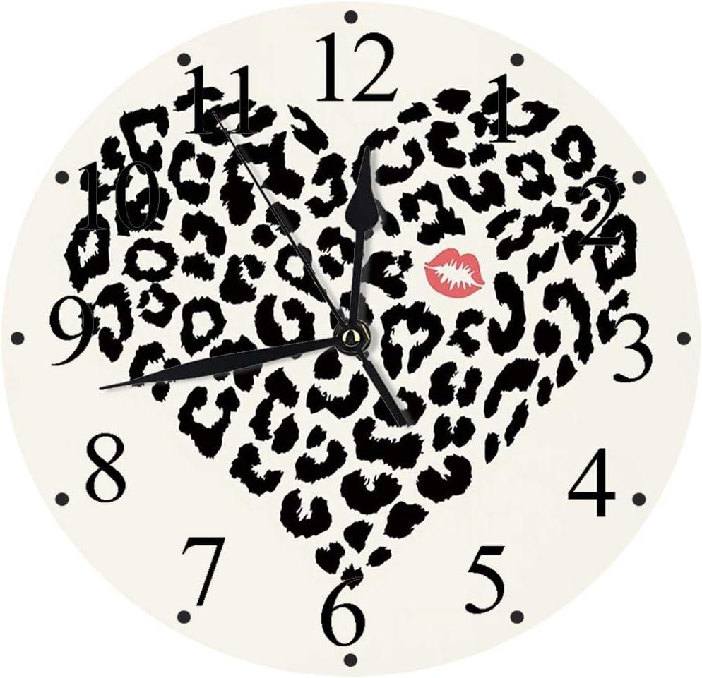 Yaoni Silencioso Wall Clock Decoración de hogar de Reloj de Redondo,Beso, Patrón de Piel de Leopardo Salvaje en Forma de corazón y un Beso Mark Valentines Day,para Hogar, Sala de Estar, el Aula