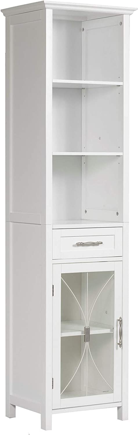 Elegant Home Fashions Delaney Linen Cabinet with 1 Drawer and 3 Open Shelves, White