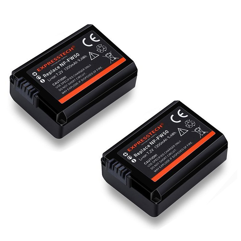 expresstech @ 2X Batterie Rechargeable fw50 FW50 FW-50 Sony NP-FW50 and Alpha a3000 a5000 a6000 A6300Alpha 7 a7 7R a7R 7S a7S NEX-3 NEX-3N NEX-5 NEX-5N NEX-5R NEX-5T NEX-6 NEX-7 NEX-C3 NEX-F3