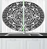 Lunarable Aztec Kitchen Curtains, Mayan Calendar End of the World Prophecy Mystery Cool Ancient Culture Design Print, Window Drapes 2 Panel Set for Kitchen Cafe, 55 W X 39 L Inches, Black White