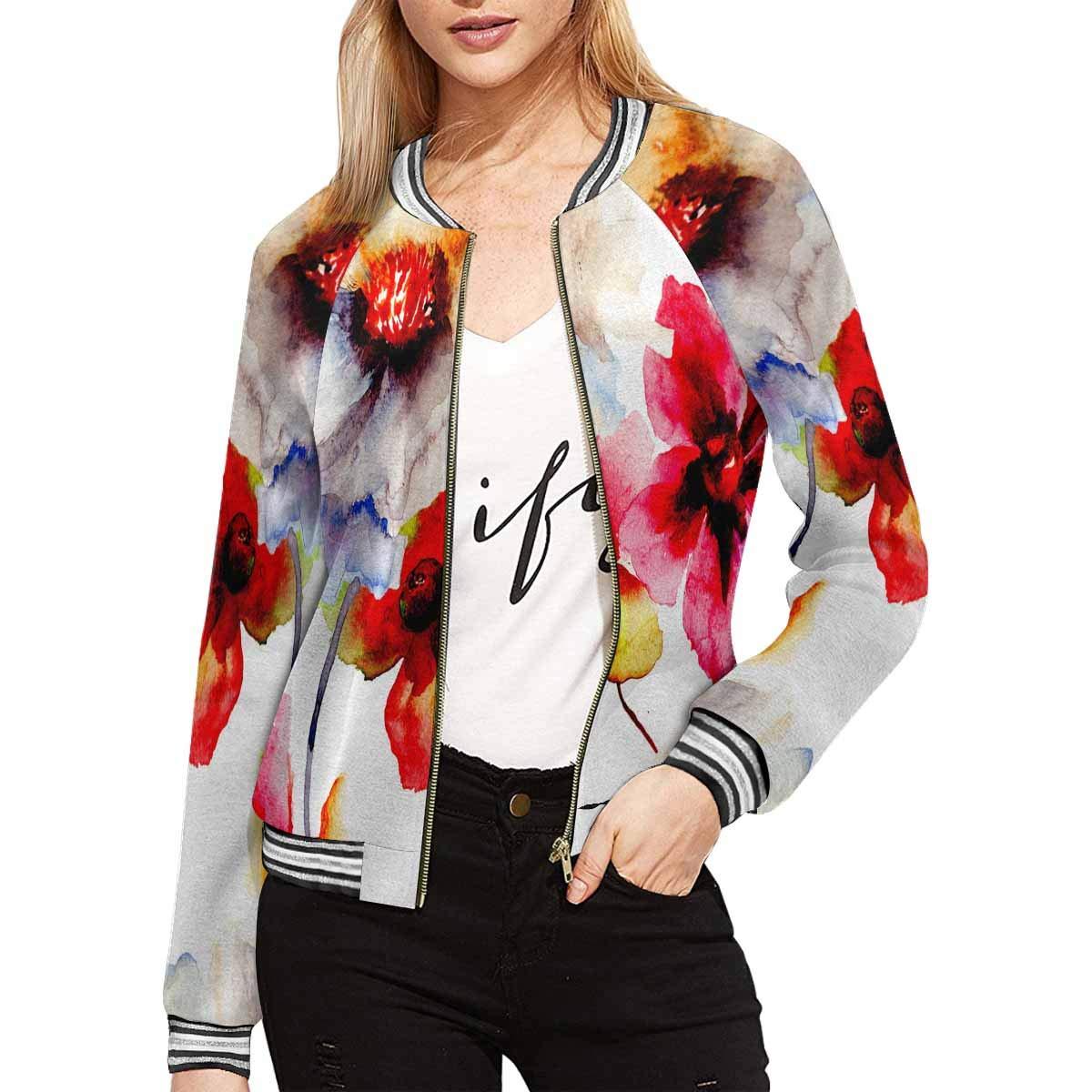 InterestPrint Summer Blossoms Flowers Watercolor Floral Women's Casual Jacket Coat L