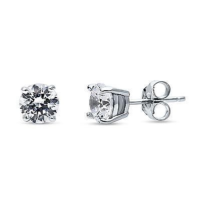 545f1f959 Amazon.com: BERRICLE Rhodium Plated Sterling Silver Solitaire Stud Earrings  Set w/Swarovski Zirconia Round 6mm: Jewelry