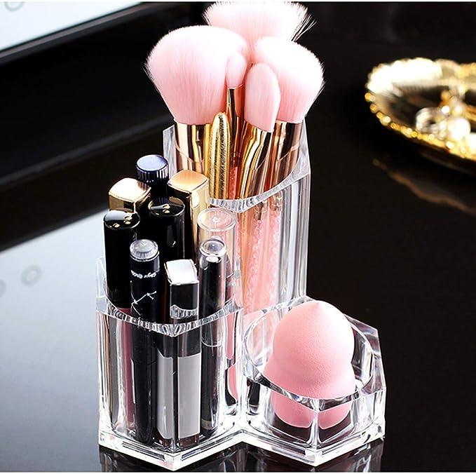 ILFALZT Makeup Pinselhalter mit 2 St/ück Kosmetik Schwammhalter Kosmetik Organizer Holz Holz Makeup Organizer Aufbewahrung