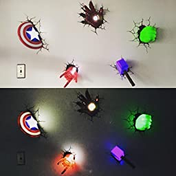 Marvel Lights On Wall : Amazon.com: 3D Light FX Marvel Captain America Shield 3D Deco LED Wall Light: Toys & Games