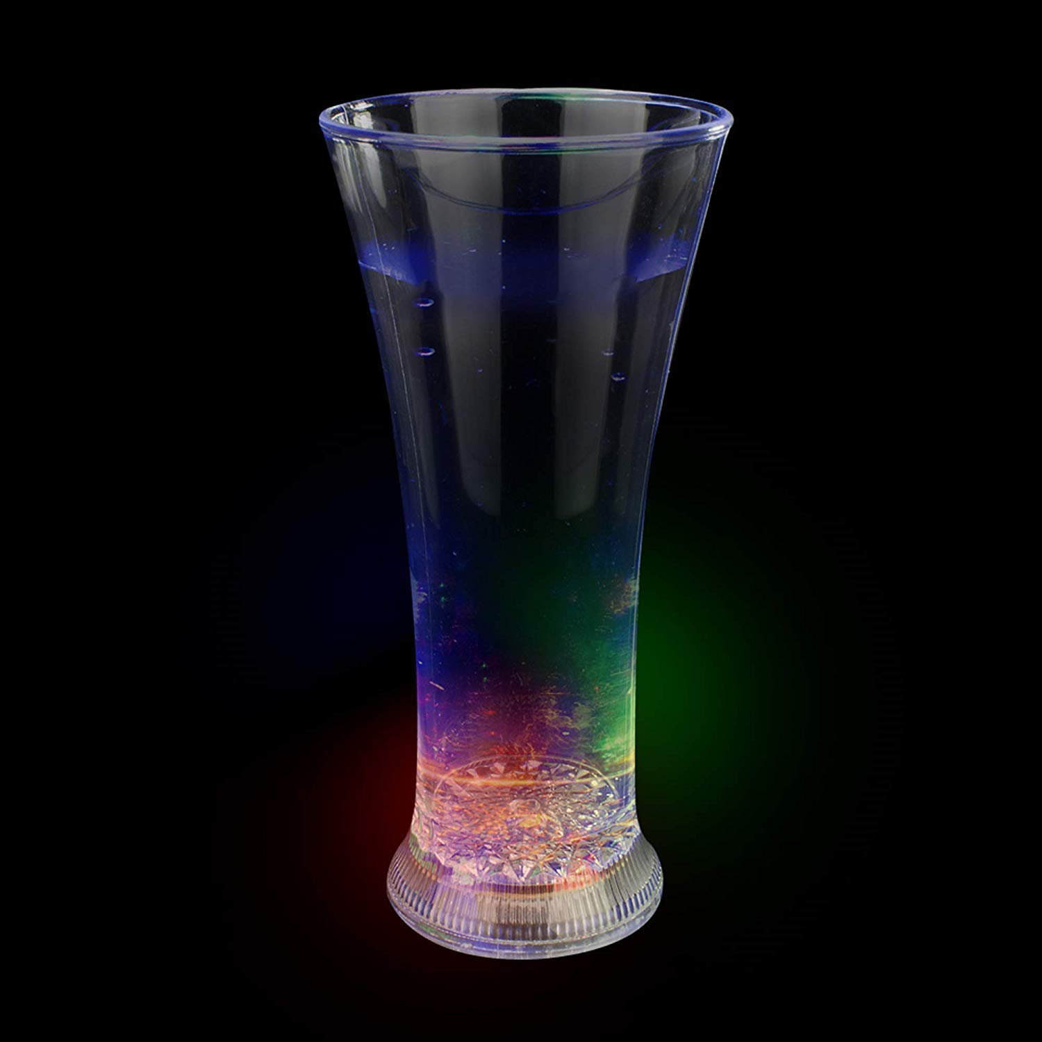 AD004 Light Up Cup LED Cup 6 Pcs 12 Oz Multicolor LED Slender Pilsner Glass Party Cups Fun Central Glow in the Dark Cups