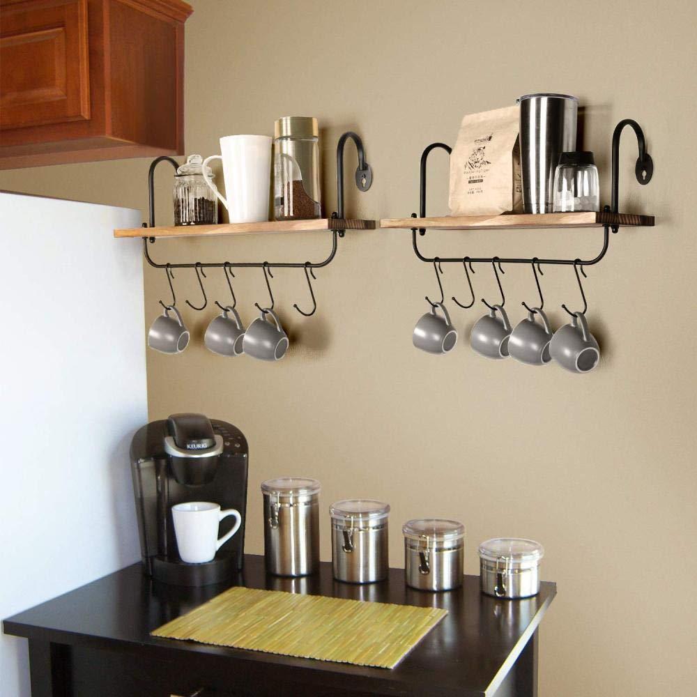 shadiao Estante de Pared Flotante Cocina Ba/ño Gancho de caf/é 10 Ganchos Ajustables Adecuado para Taza Utensilio de Cocina o Toalla Juego de Estante r/ústico 2 17x5.9 Pulgadas