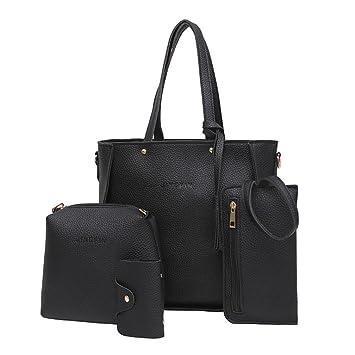 Bolso, Manadlian Cuatro piezas La bolsa de asas de las mujeres Bolsos de hombro del bolso Crossbody Billetera (26.5*24*11cm, Negro): Amazon.es: Hogar