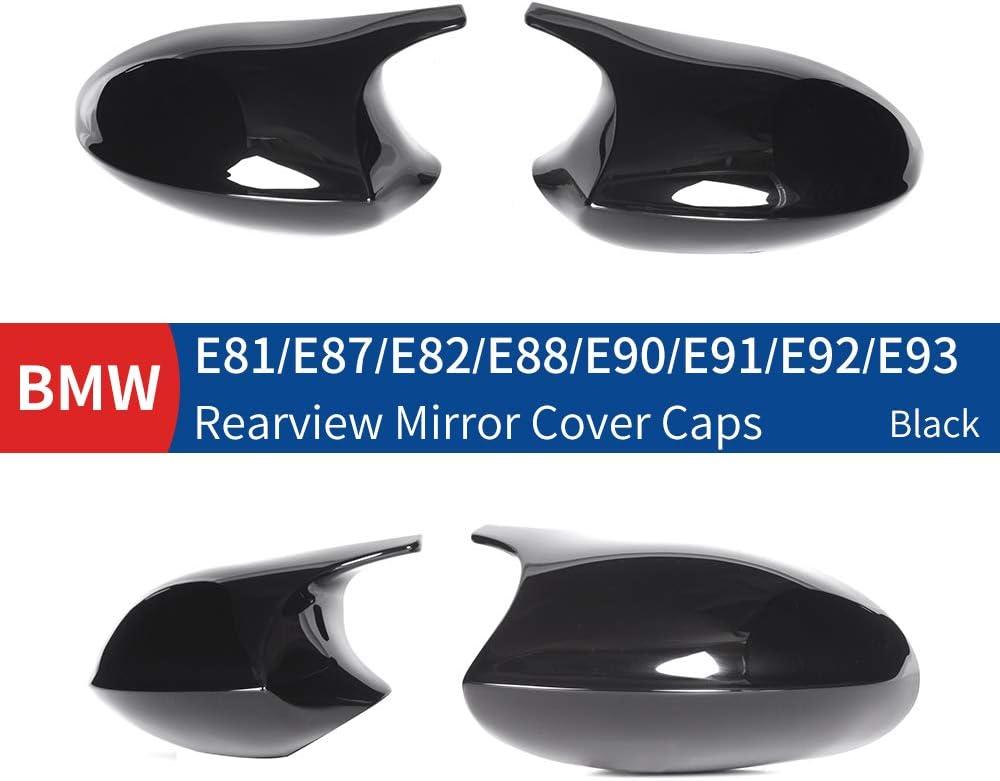 Gloss Black ABS Huichi Replacement Rearview Mirror Cover Cap Compatible for BMW 1 Series E87 E81 E82 E88 2004-2009 3 Series E90 E91 E92 E93 2005-2009