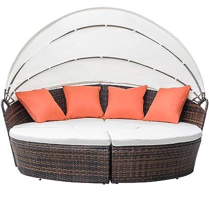 Amazon.com: MIERES Mueble de mimbre redondo de mimbre con ...
