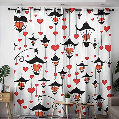 (VIVIDX Curtains for Living Room,Love Lanterns and Heart for Valentines Day Small Lamp Classic Antique,Blackout Draperies for Bedroom,W108x108L,Vermillion Scarlet White Black)