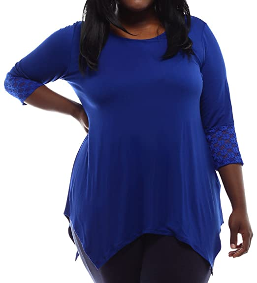 d1d05d332159f Stylzoo Women s Plus Size Stretchy Rayon Asymmetrical Hem Top with Lace  Cuffs Blue 1X