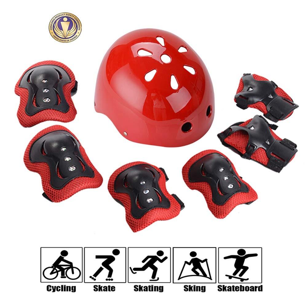 GYL-JL Kid's Protective Gear Set Adjustable Helmet Red