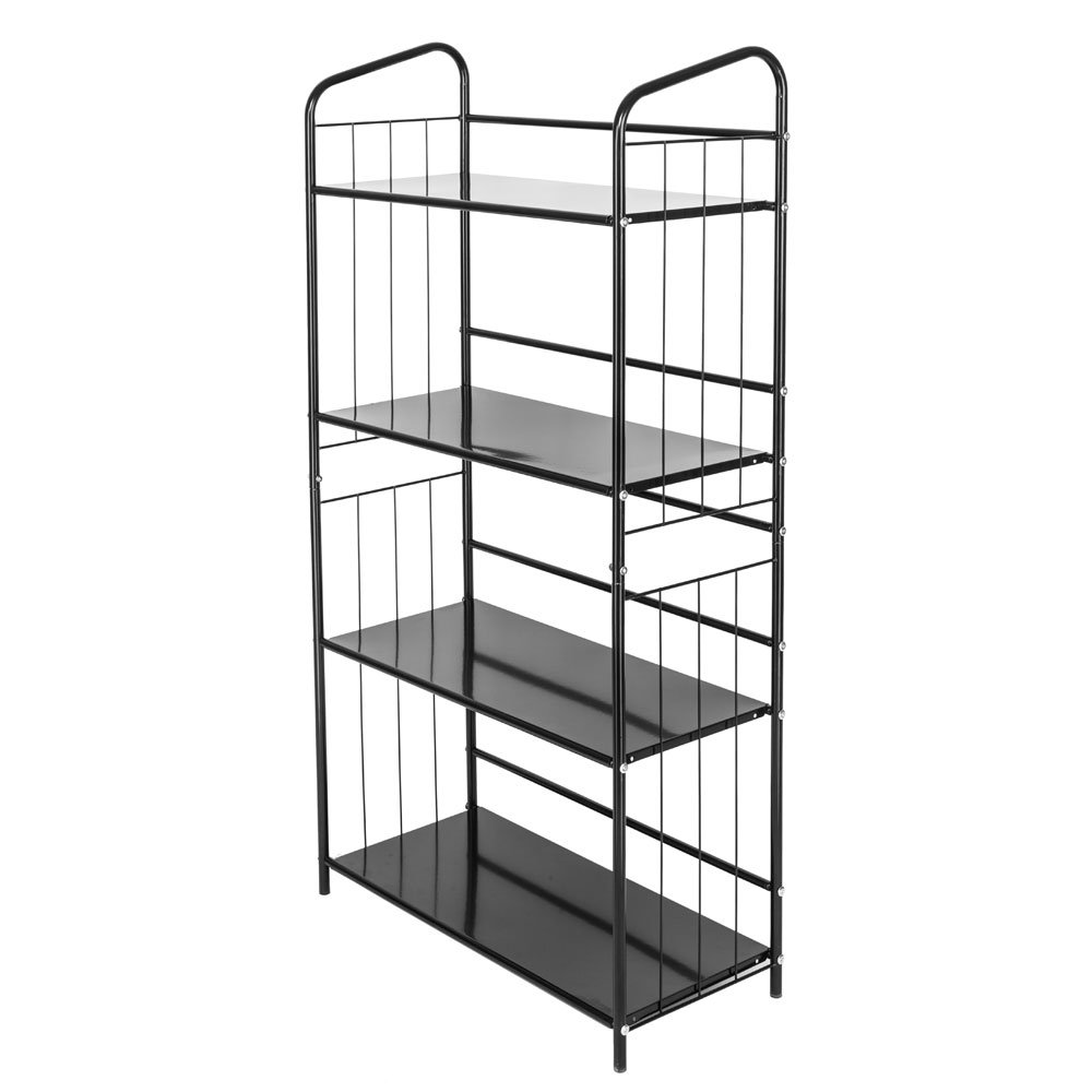 Azadx Utility Book Rack, Multifunctional Metal Bookcase Shelving Rack Portable Practical Storage Rack Shelf Black for Home or Office Use (4 Tier)