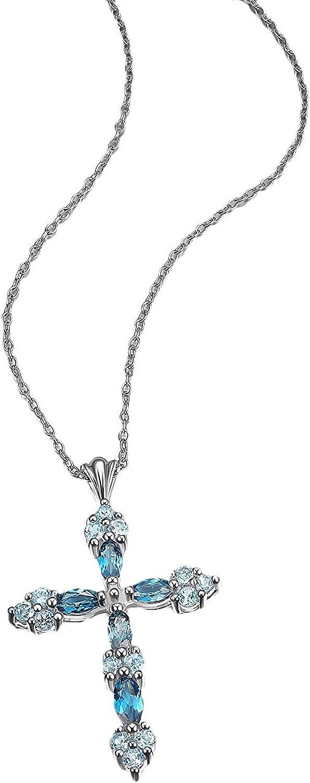 ".925 Sterling Silver Genuine Blue Topaz 1-1/2"" Multi-Tone Trinity Cross Pendant Necklace on 18"" Box Chain"