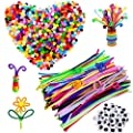 500 Pcs Pipe Cleaners Set,Craft Supplies Including 200pcs Pom Poms,100pcs Pipe Cleaners Chenille Stem and 200Pcs Self-Sticking Wiggle Googly Eyes for DIY Art Craft Handmade