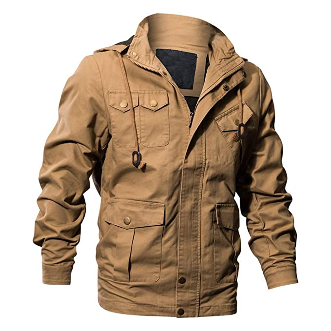 Amazon.com: iYYVV Mens Autumn Winter Casual Long Sleeve Solid Hooded Jacket Top Cargo Coat: Clothing