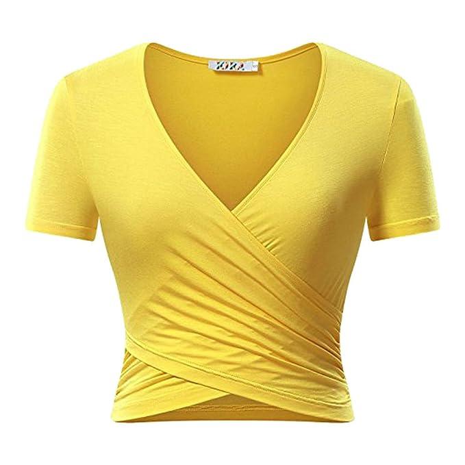 Freestyle Verano Mujer Corto Blusa Joven Moda Cuello V Manga Corta Top Camisas Blouses Shirts Delgado Colores Lisos Remata T-Shirt Camisetas: Amazon.es: ...