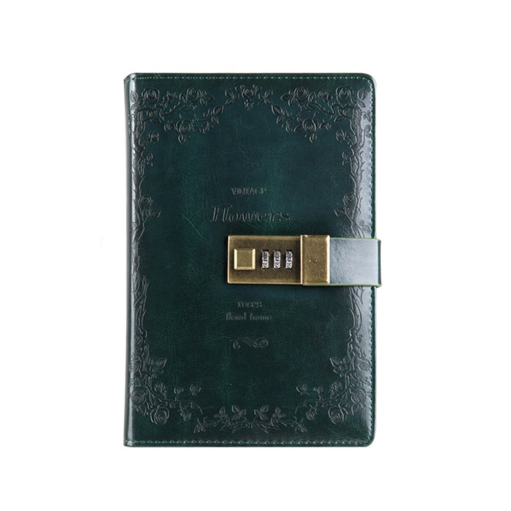 Longpro Vintage European Style Retro PU Leather Writing Journal Notebook, B6 Size Password Diary Notepad with Combination Lock, Card Slots, Pen Holder(Pen Not Included) (dark green)
