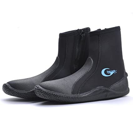 cd5fdfb2874f TideWe Diving Boot Neoprene 5mm Top Zipper Dive Boot Wetsuit Boots For Men  and Woman(