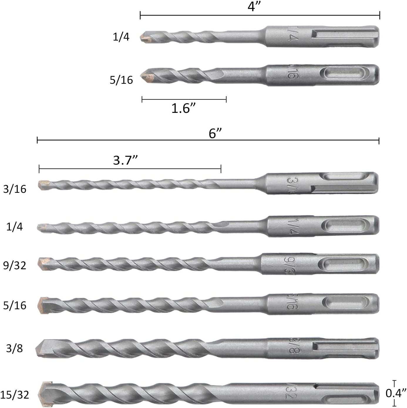 WiMas juego de brocas para martillo rotativo SDS-Plus y 3 cinceles para piedra de cemento de ladrillo Juego de 11 brocas para mamposter/ía profesional con punta de carburo SDS Plus