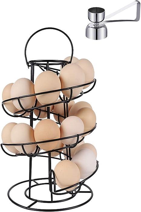 Red LOVIVER Egg Storage Display Holder Spiral Design Metal Egg Dispenser Modern Rack,Storage Display Rack Can accommodate 24 Eggs
