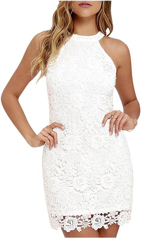 TALLA XXL (Busto : 98 CM). MISSMAO Mujeres Vestido Encaje Bodycon Corto sin Mangas Casual Slim Falda para Fiesta Mini Vestido Blanco XXL (Busto : 98 CM)