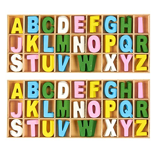 Tiny Letters - 260-Piece Set Wooden Letters - Wooden Craft Letters with Storage Tray - Wooden Alphabet Letters for Home Decor, Multicolor, 1 Inch
