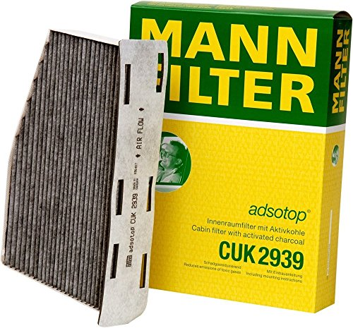 Mann-Filter CUK 2939 Cabin Filter With Activated Charcoal for select Audi/ Volkswagen models (Pack of 2) (Replacement Air Filters Conditioner)