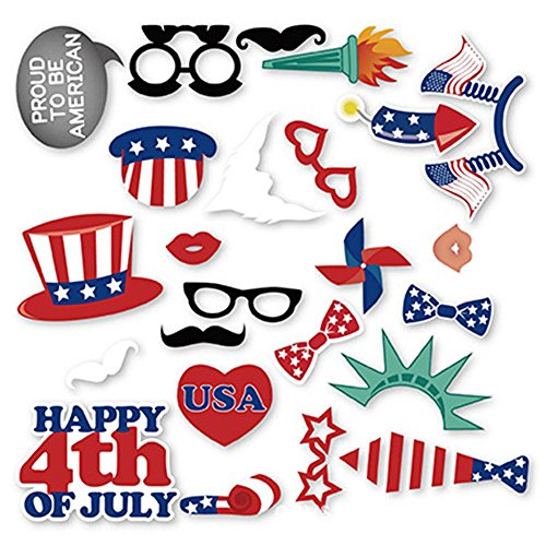 Happy 4th of July - Independence Day Photo Booth Props Kit - 24 Piece (50s Costume Kit)