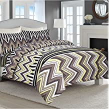 Tribeca Living 170 Gsm Chevron Stripe Printed Flannel Luxury Duvet Cover Set, Queen, Multicolor