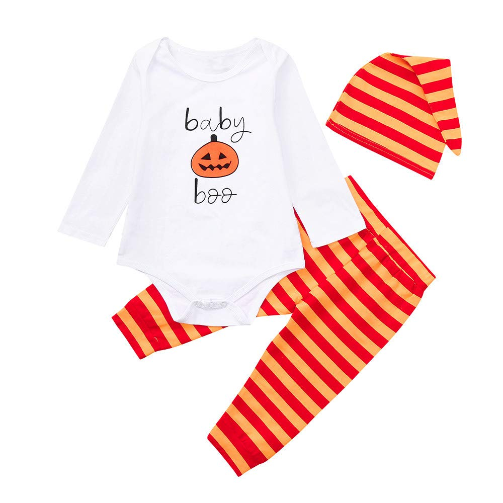 Tronet Halloween Baby Romper, 3PCS Infant Girls Boys Pumpkin Prin Tops and Striped Pants &Cap